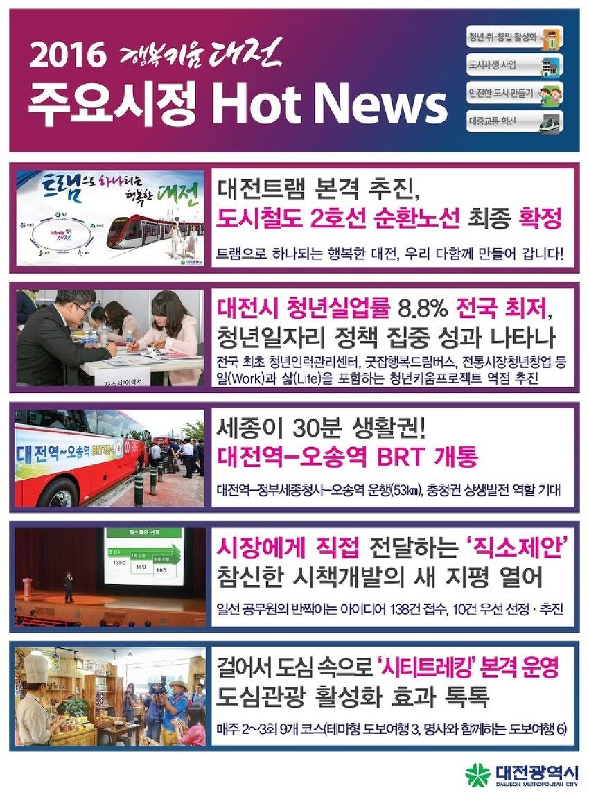 2016년 8월 대전시정 핫뉴스(대전도시철도 2호선 트램..