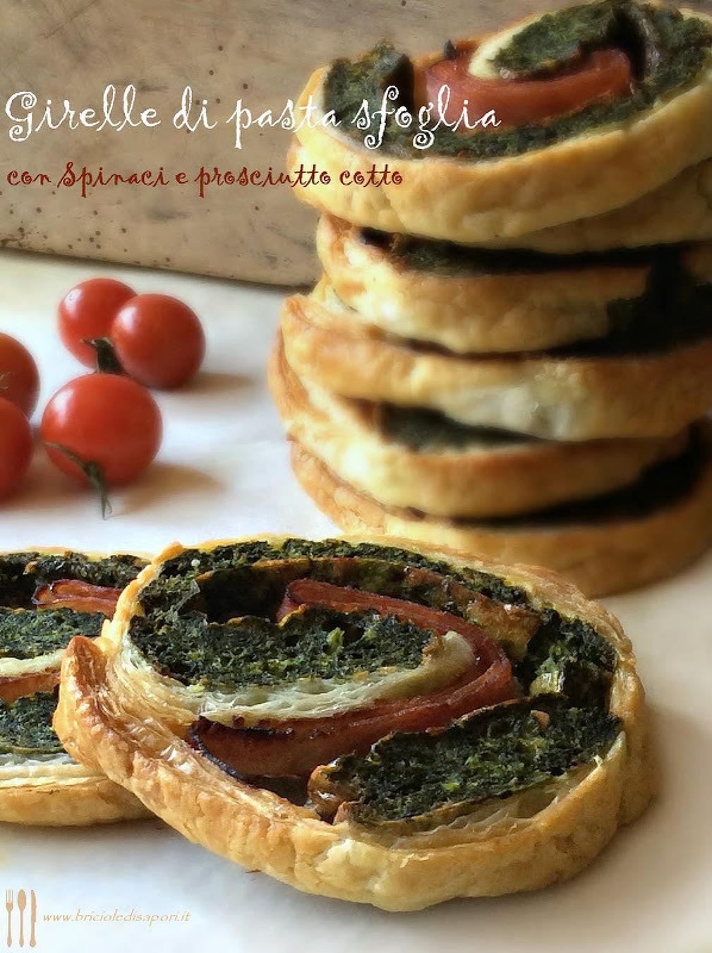 Girelle di pasta sfoglia con spinaci e prosciutto cotto
