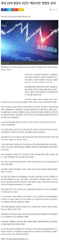 [20170110 한국일보] 국내 18개 증권사 3년간..