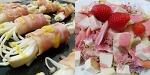 베이컨버섯말이와 딸기소스 두부샐러드