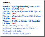 MSDN: Windows 10, Version 1511 (Updated Feb 2016) 업데이트