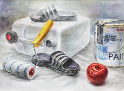 [정물수채화 / 학생작] 석유통, 슬리퍼, 페인트 통, 페인트 롤러, 사과