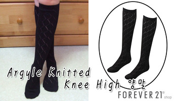 [FOREVER21] Argyle Knitted Knee High 양말, 포에버21