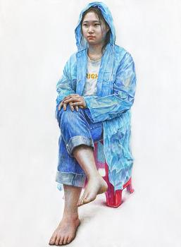 [인물·인체수채화/과정작] 하늘색 우비, 흰색 티, 청바지를 입은 여성