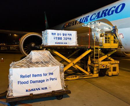 대한항공, 페루 홍수 이재민 구호품 지원