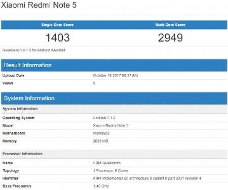 샤오미 - 스냅드래곤 617을 탑재한 홍미노트5, GeekBench에 포착