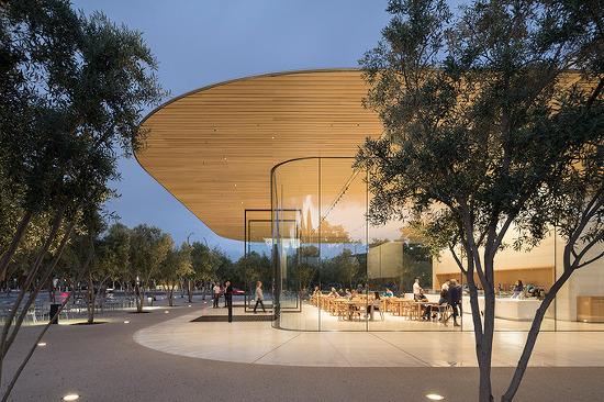 *애플파크 방문자 센터 foster + partners tops apple park visitor center with open-air roof terrace