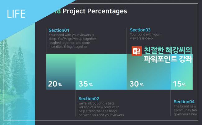 [직장인 파워포인트] 퍼센트(%) 차트 디자인 만들기