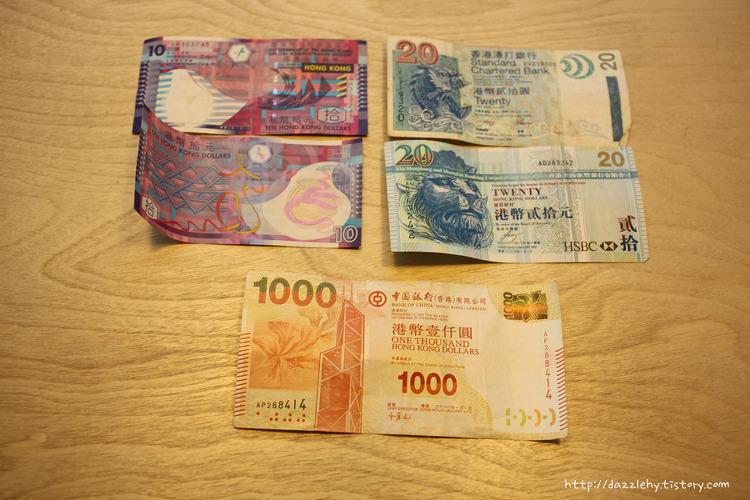 홍콩 돈 지폐와 동전 종류