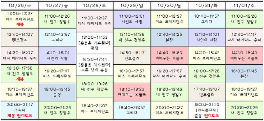 [10.26-11.01 상영시간표] 내 친구 정일우 / 미스 프레지던트 / 그리다 / 다시 태어나도 우리 / 분장 / 땐뽀걸즈 / 여배우는 오늘도 / 시인의 사랑