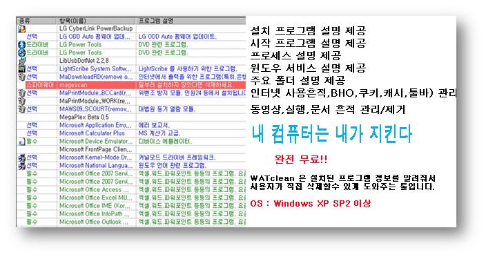 PC최적화 툴,실시간 프로그램 설치감시,BHO삭제,그리드 삭제