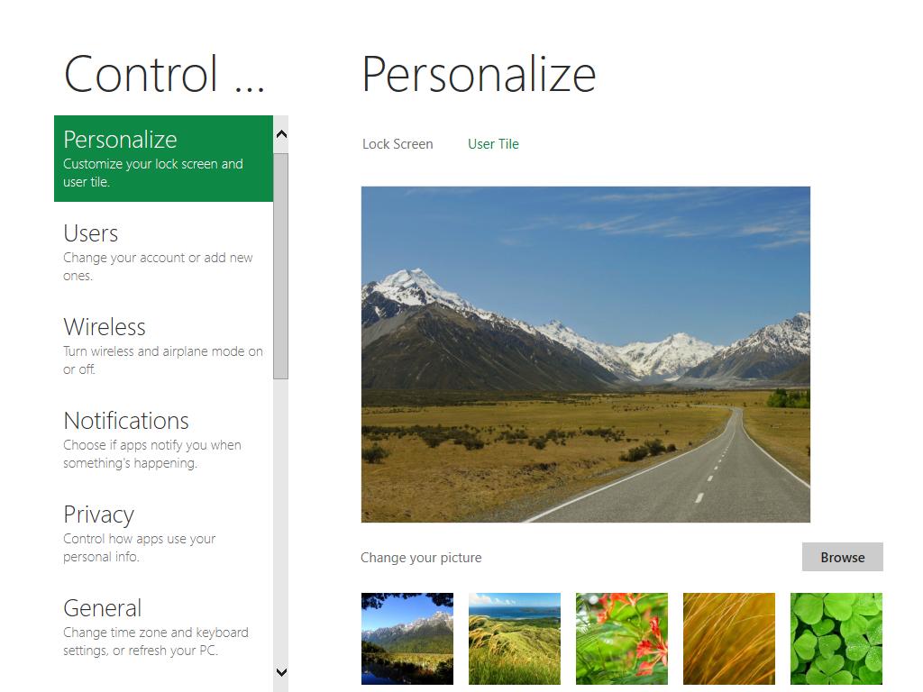 """제어판(Control Panel)도 Immersive 스타일을 제공한다. 새로운 스타일인 이러한 """"Immersive"""" 애플리케이션들이 윈도우 8의 가장 큰 특징 중 하나일 것이다. 상세한 설정은 윈도우 7에서 보던 익숙한 제어판에서 해야 하지만, 일단 여기에서도 자주 쓰는 기능들을 빠르게 설정할 수 있다."""
