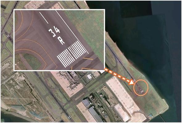 공항 활주로에 표시되어 있는 활주로 이름 (일본 하네다 공항)