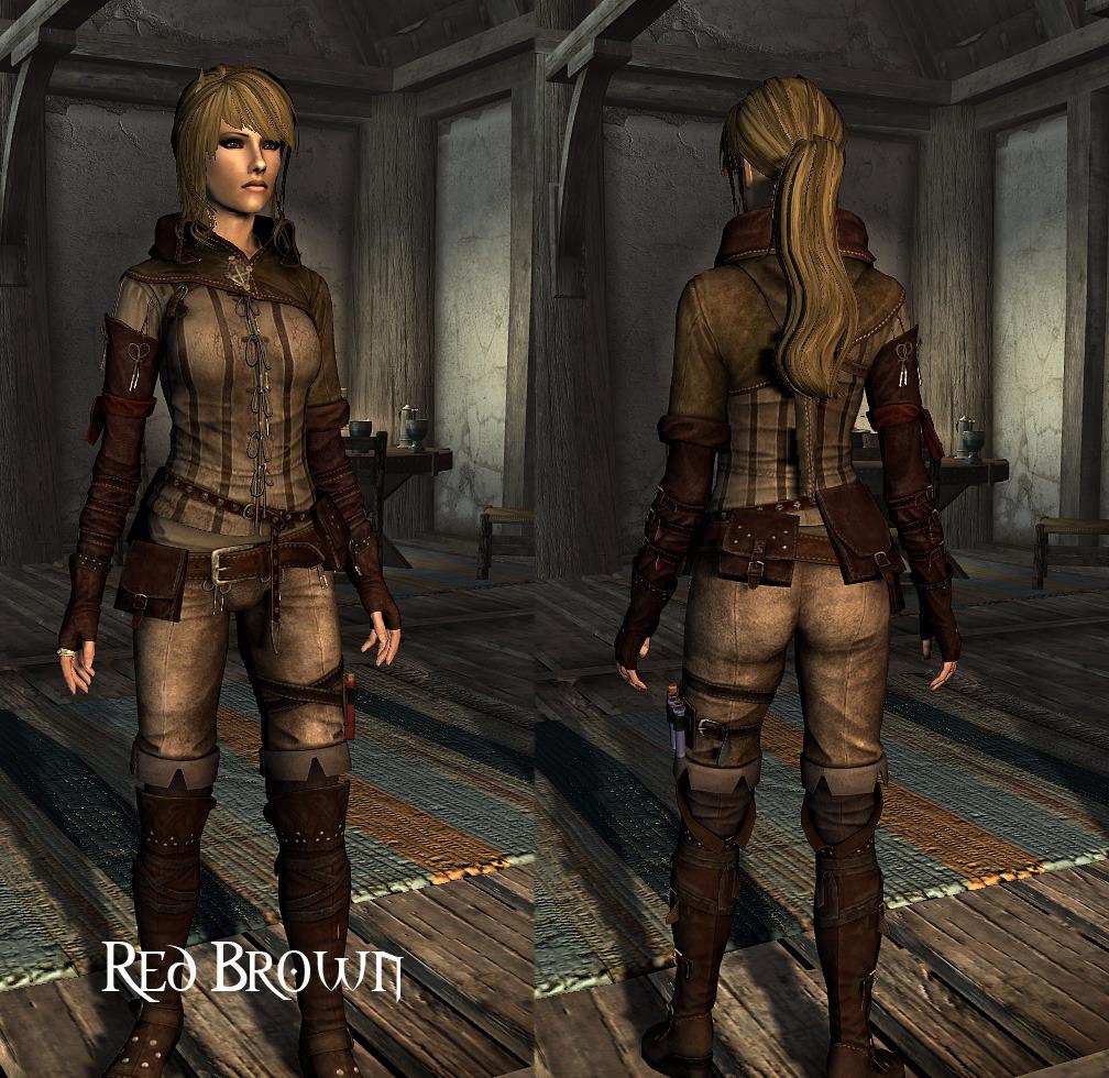skyrim mod triss armor red brwon