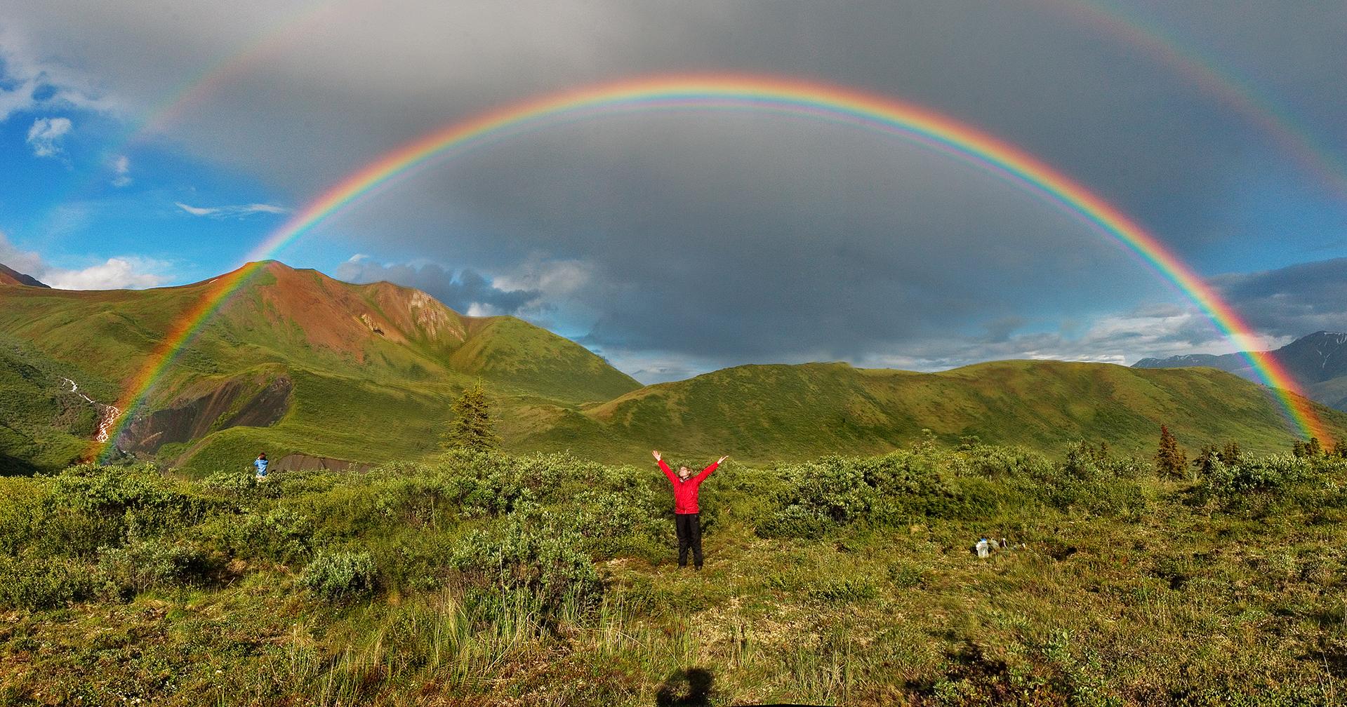 미국 알래스카의 쌍무지개