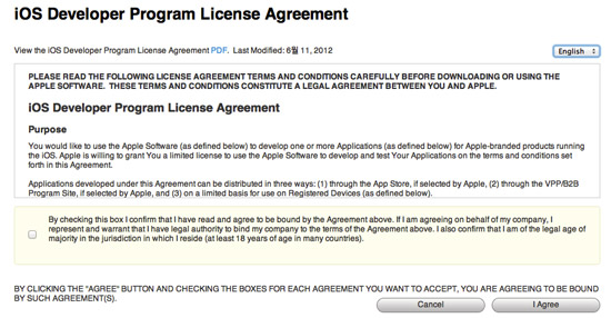 iOS6 Developer Program License Agreement