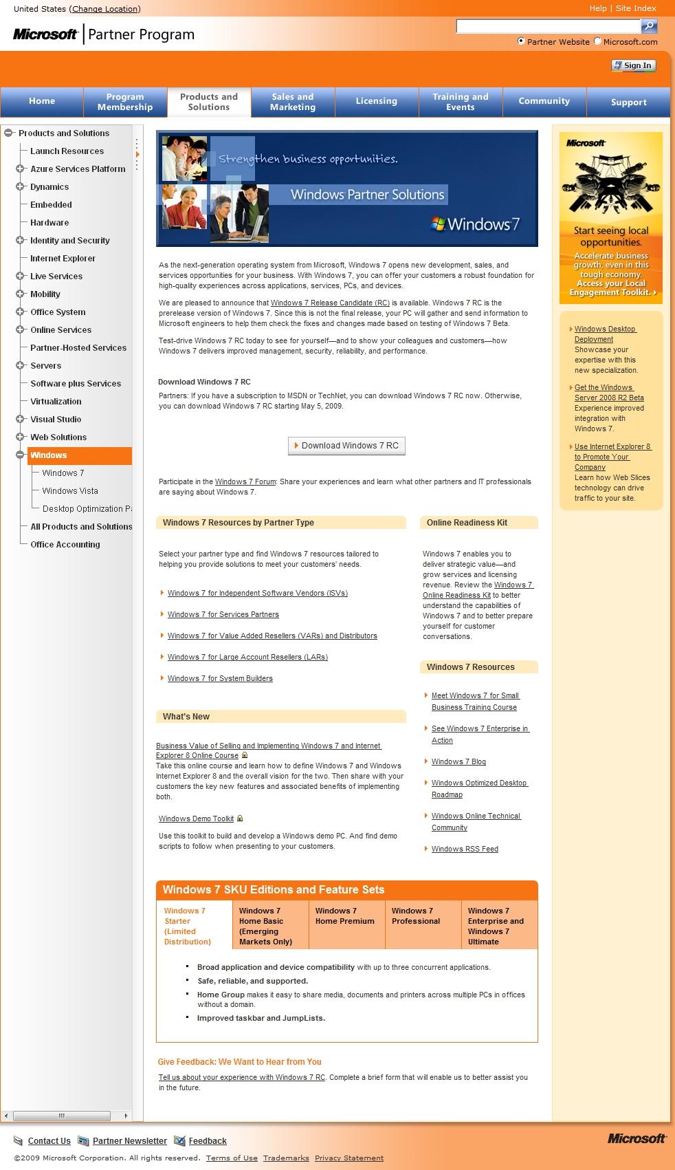MS 파트너를 위한 윈도우7  RC 버전 다운로드링크