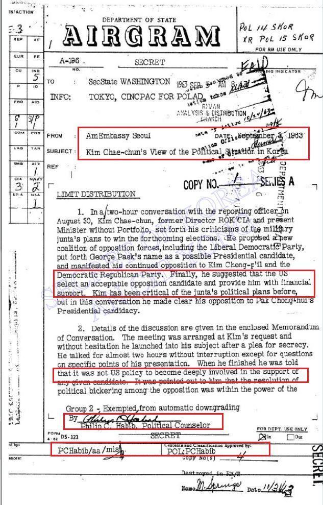김재춘, 1963년 하비브찾아가 박정희 꺽도록 미국이 야당후보선택하고 자금 지원해달라 요청 : 미국무부 외교전문