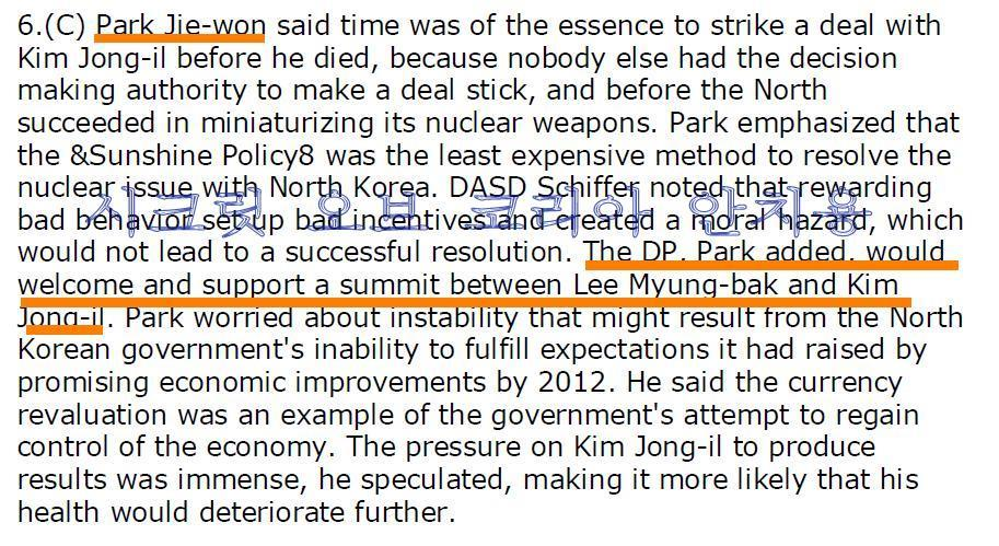 박지원 남북정상회담지지 위키리크스 비밀전문 안치용