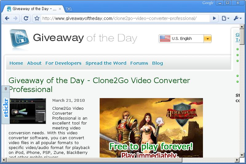 Giveaway of the Day 홈페이지 - 오늘은 Clone2Go Video Converter Professional 프로그램이 공짜!