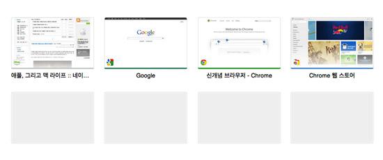 Google Chrome 웹브라우저 최근 방문페이지 탑사이트(Most visited Topsite)