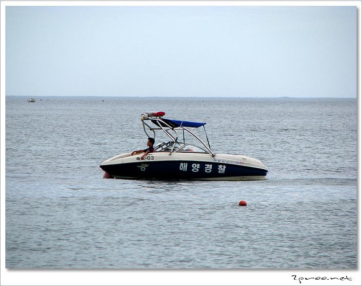 낙산해수욕장 해양경찰 보트