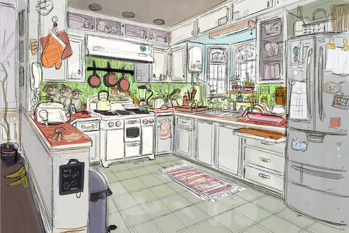 Watercolor Kitchen Paintings