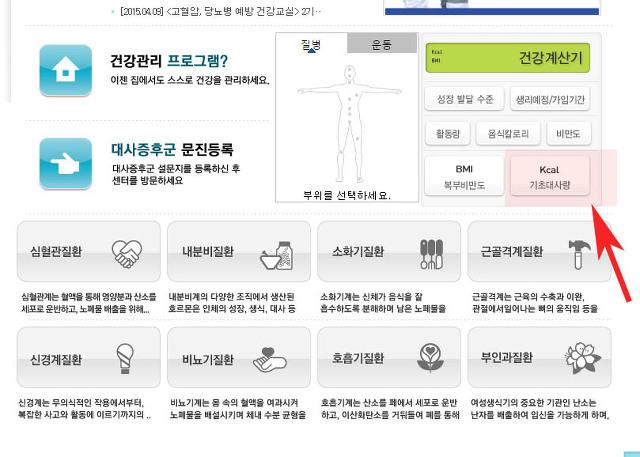 칼로리 기초대사량 계산기 인터넷 이용방법