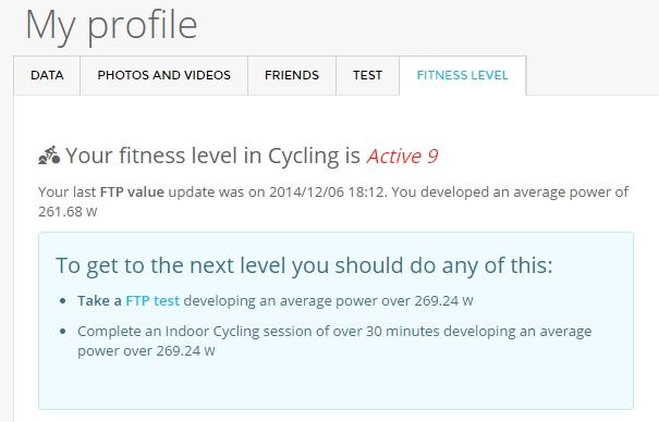 FTP 테스트 결과 아마추어에서 Active 9 로 올라감~!!