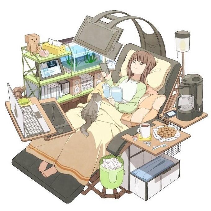 누워서 컴퓨터