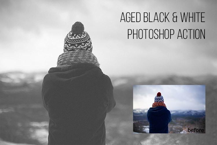 빈티지 흑백(aged black & white) 포토샵 액션 - Free Aged Black & White Photoshop Action