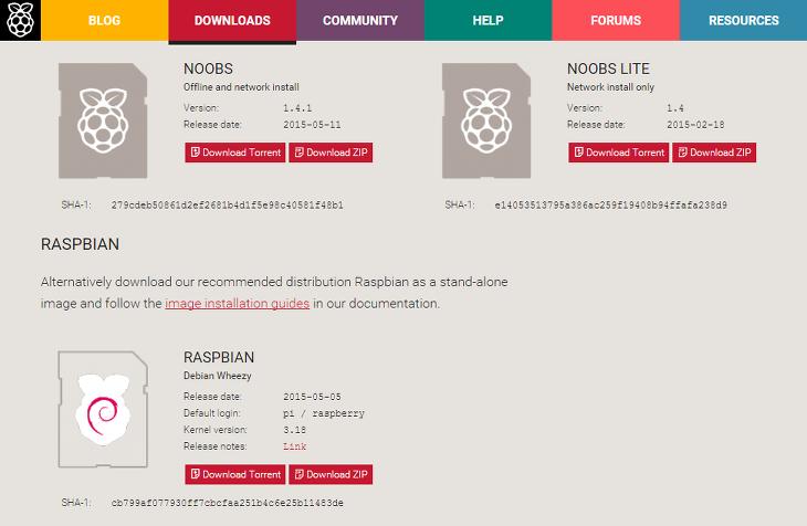 라즈베리파이 홈페이지 다운로드 페이지