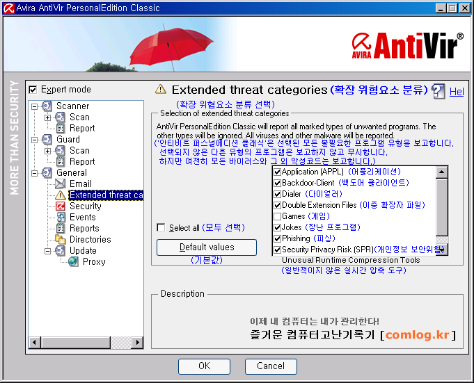 안티비르 (AntiVir) 일반 확장 위협요소 분류