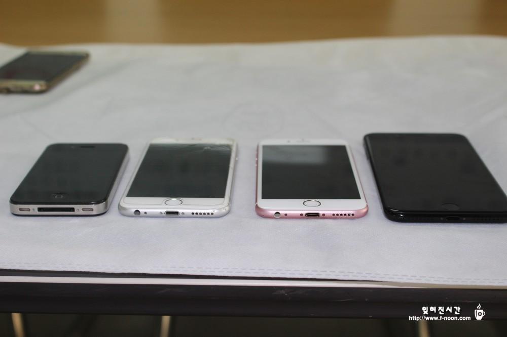 아이폰4 블랙 vs 아이폰6 실버 vs 아이폰6s 로즈골드 vs 아이폰7 플러스