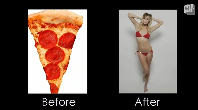 Photoshop turns pizza into woman - 5 2