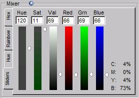 색상혼합 테이블 Sliders