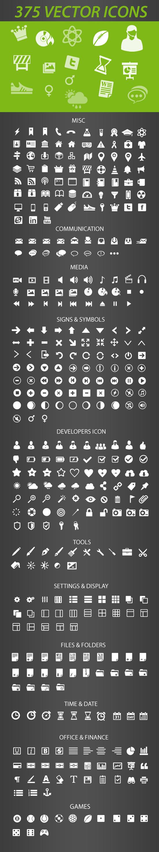 레티나 디스플레이에 최적화 된 375 가지 벡터 아이콘 - 375 Free Vector Retina-Display-Ready Icons