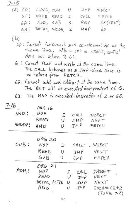 컴퓨터구조 연습문제, 모리스 마노 챕터7 47