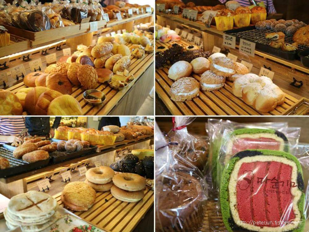 다양한 빵들과 수박식빵