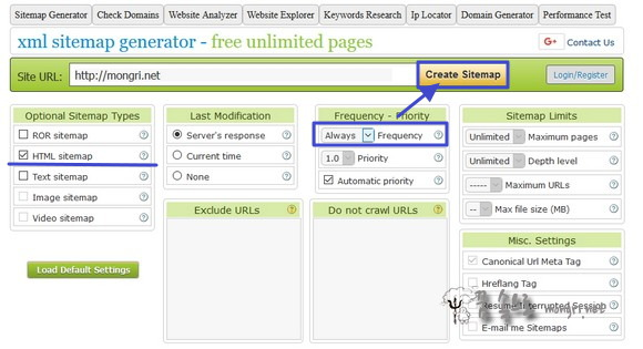 옵션 선택 후 사이트맵 만들기(Create Sitemap) 버튼 클릭