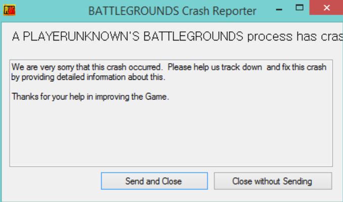 배틀그라운드 crash error