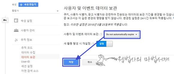 사용자 및 이벤트 데이터 보관 기간 자동 만료 안 함(do not automatically expire)